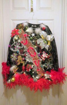 Glam Tacky Ugly Christmas Sweater Light UP Oversized Sz Small black foofoo Mini Dress B Ohh la. Glam Tacky Ugly Christmas Sweater Light UP Oversized Sz Small black foofoo Mini Dress B Reindeer Ugly Sweater, Diy Ugly Christmas Sweater, Ugly Sweater Party, Xmas Sweaters, Tacky Christmas Party, Diy Christmas, Black Christmas, Christmas Outfits, Christmas Games