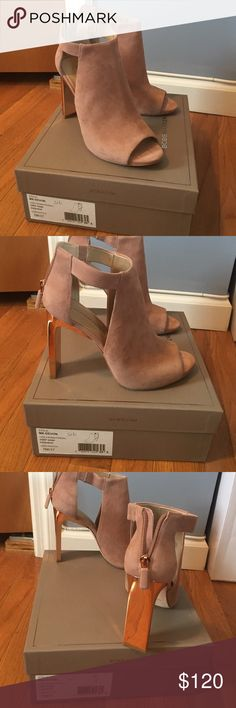 Bcbg Devon peep toe pumps Bcbg Devon peep toe pumps in deep sand suede. Has a metallic rose gold heel. Zips from the back and has side cut outs. Only worn once so beautiful and so comfortable just wish they were half a size bigger for me  comes with box BCBG Shoes Heels