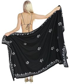 """La Leela Sarong Silky Gentle Rayon Embroidered Swim Bikini Wrap 72X42 Inch Black. Do YOU want SARONG in other colors Like Red ; Pink ; Orange ; Violet ; Purple ; Yellow ; Green ; Turquoise ; Blue ; Teal ; Black ; Grey ; White ; Maroon ; Brown ; Mustard ; Navy ,Please click on BRAND NAME LA LEELA above TITLE OR Search for �LA LEELA� in Search Bar of Amazon. Wrap Around LENGTH 78"""" [198 cms] WIDTH 39"""" [99 cms]. Soft Sarong with PLENTY OF Wrap Around MATERIAL (Provides you good coverage or less…"""