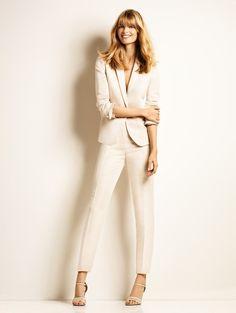 1.2.3 Paris - Veste Vasile 159€ Pantalon Jardin 85€ Chaussures Erika 129€ #poudre #rose #tailleur #lin #sandales #nude #mode #printemps #123