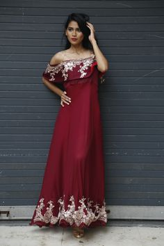 www.sewwhat.in make your evenings beautiful by custom made gowns from sew what.fashion #datenight #date #red #gown #work #indian # fashion #style #redgown #offshoulder #fahsion #world #shoes