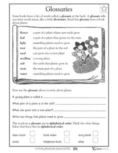 FREE first grade reading worksheet! Your child will practice using a glossary to answer questions.