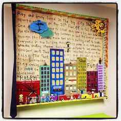 """The actual title of this piece is """"Little kids in a big city.""""Benjamin did a collaboration with his 5 year old daughter Isabella for a child therapy room. First she drew her concept and then she wrote her story and with the help of her dad they took her drawing to another level."""