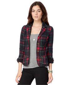 Aeropostale Womens Tartan Blazer Jacket