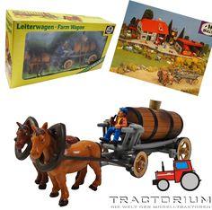 Bully Farm 11022 Pferdegespann mit Leiterwagen und Fass ca. 1/32