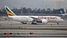 """Ethiopian Airlines Boeing 787-8 Dreamliner ET-AOS """"Lucy"""" makes one of the African carrier's thrice weekly arrivals (Monday, Thursday and Saturday mornings) at Los Angeles-International, November 2015. Flight 504 takes an Addis Ababa-Dublin-Los Angeles route. (Photo: Contrails Aviation Photography)"""