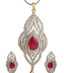 Buy HAPPINESS Collection Pink Long Party Wear Pendant Set For Women Pendant online