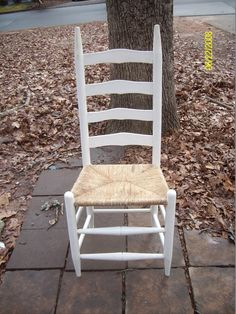 Vintage Ladder Back Chair With Rush Seat Antique Vintage