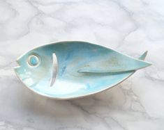 FISH ceramic soap dish with aqua glaze, drain hole, porcelain bathroom accessory pisces