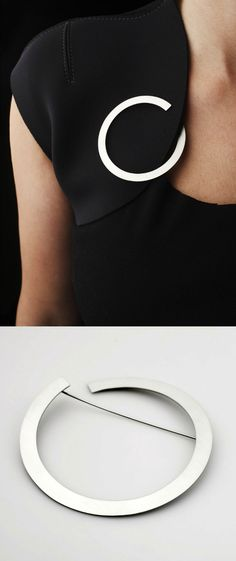Circle Brooch - bold minimal jewellery; contemporary jewellery design // Klara Sipkova