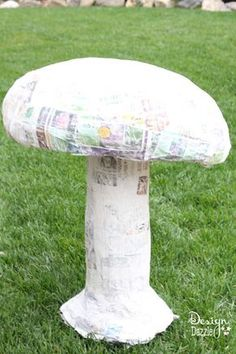 Embroidery On Paper How to paper mache a giant mushroom - Design Dazzle - Props are vital for creating the perfect party atmosphere. I made this giant mushroom for a Vintage Glam Wonderland party. An aluminum foil pan, paper mache Giant Mushroom, Mushroom Decor, Mushroom Crafts, Mad Hatter Party, Mad Hatter Tea, Mad Hatters, Enchanted Forest Party, Enchanted Forest Decorations, Fairytale Party