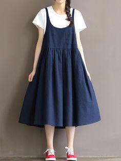 kup Artystyczne wygodne chic styl w jednym kolorze sukienka tank & Sukienki - w Jollychic