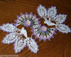 Pink Lilac Roses White Hummingbirds Large Handmade Crochet Doily 21 x 12