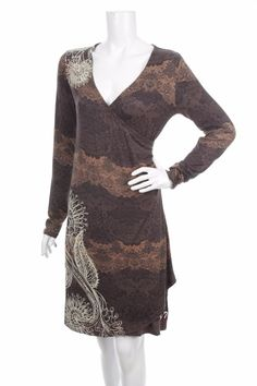 DESIGUAL WOMEN CASUAL DRESS  Size M BROWN MULTI COLOR LACE MADE IN SPAIN V NECK #Desigual #WrapDress #Casual