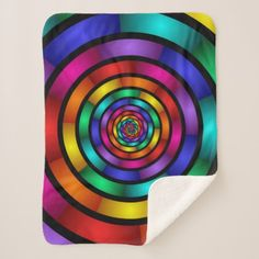 Round and Psychedelic Colorful Modern Fractal Art Sherpa Blanket - stylish gifts unique cool diy customize