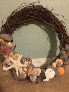 Seashells and burlap wreath.