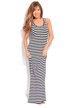 BLACK WHITE STRIPES SLEEVELESS SCOOP NECK MAXI DRESS