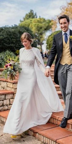 30 Cute Modest Wedding Dresses To Inspire. Beautiful modest wedding dresses with… 30 Cute Modest Wedding Dresses To Inspire. Beautiful modest wedding dresses with cape long sleeves by rosa clara Wedding Dress Sleeves, Long Wedding Dresses, Long Sleeve Wedding, Designer Wedding Dresses, Bridal Dresses, Wedding Dress Cape, Long Cape Dress, Zara Wedding Dress, Christian Wedding Dress
