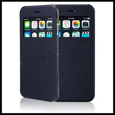 Ultra Thin Front View Window Flip Stand Case Cover for iPhone6 plus Will Be There Wherever You Are, Hurry Up!