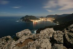 The Sentinel and Hout Bay viewed from the top of Chapman's peak during the full moon. Cape Town, River, Outdoor, Outdoors, Outdoor Games, Outdoor Living, Rivers