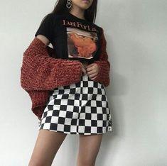 Vintage Style - ̗̀ saith my he A rt ̖́- checkered skirt outfit and black graphic shirt, sweater outfit fall fashion, grunge fashion Edgy Outfits, Mode Outfits, Skirt Outfits, Fall Outfits, Summer Outfits, Fashion Outfits, Fall Fashion, Summer Clothes, Paris Fashion