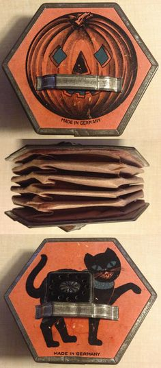 Antique German accordion noisemaker, jack-o-lantern, black cat, [first example to surface]