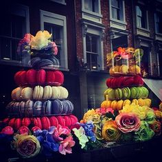 Macarons Towers in the Kensington Store Window Display. I would love this as petit four display.