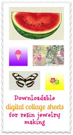 Downloadable digital collage sheets for resin jewelry (not just for resin jewelry-- you can print them for other crafts, too).