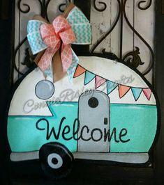 Check out this item in my Etsy shop https://www.etsy.com/listing/387031766/vintage-camper-burlap-door-hanger
