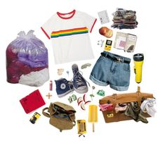 """""""summer camp aesthetic"""" by tragiciann ❤ liked on Polyvore featuring Retrò, Converse, Rachael Ray, Fat Face, Chapstick, Maison d'usQ, Black Apple, women's clothing, women and female"""
