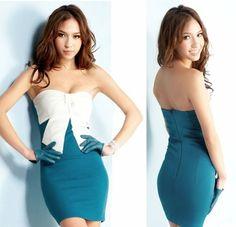 Morpheus Boutique  - Turquoise Strapless White Sexy Bow Decor banded clubwear Mini Dress