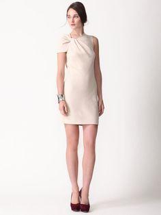 Wool Twist Shoulder Dress