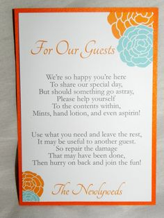 Wedding Sign/Bathroom Basket Sign in Orange  Shop: www.etsy.com/shop/mysentimentsinvites