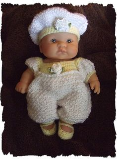 Love the tiny Mary Jane shoes. Lemon Parfait Romper Set for an 8 Inch Berenguer Baby Doll pattern by Amy Carrico Crochet Doll Dress, Crochet Doll Clothes, Knitted Dolls, Bitty Baby Clothes, Pet Clothes, Doll Patterns, Crochet Patterns, Baby Doll Carrier, Sport Weight Yarn