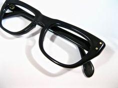 02896e1309 Vintage horn rimmed glasses. New old stock NOS deadstock no lenses. Black  plastic frames mens unisex. Swan 48-20.
