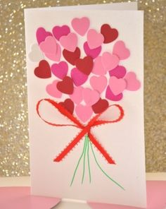 DIY Valentine Heart Bouquet.  Cute & easy for the kids to make for grandparents.