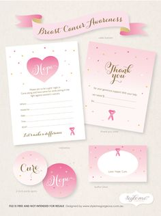 Free  Breast Cancer Awareness  Invitation template, thank you note card, party spots / tags, and buffet labels  Style Me Gorgeous