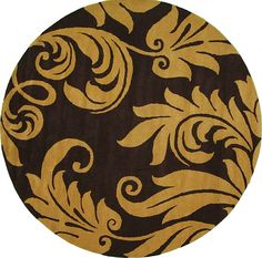 "Brown Floral Agra Area Rug 9'10"" round rug  this matches my bedset"