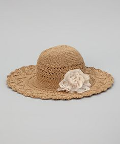 4333b9f9254 Love this Natural Braided Flower Floppy Sunhat by The Accessory Collective  on  zulily!