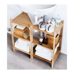 RÅGRUND Allas-/kulmahylly IKEA Yhdistämällä kaksi hyllyä saadaan pesualtaan alla oleva tila hyödynnettyä säilytykseen.