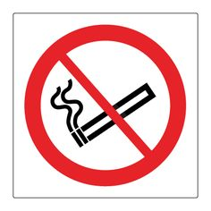 No smoking symbol sign. Prohibition safety sign, complying with ISO EN 7010 and Safety signs and signals regulations Available in self adhesive vinyl or rigid plastic.