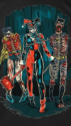 Harley Quinn Batman and Robin homage to Michone on The Walking Dead