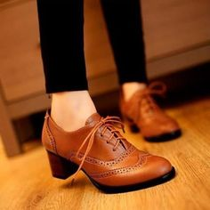Women Lace Up Oxford Heels Shoes Boots