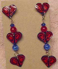 Handmade Heart Swirl earrings in Blue and Red Polymer Clay   CreativeCritters - Seasonal on ArtFire - $10.50