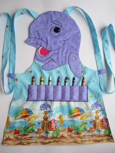 Kids Apron  WHALE Craft Apron Cooking Apron Garden por KiddieKOVE