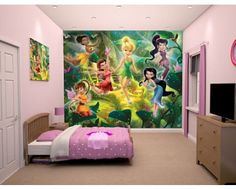Disney fairy princesses with Tinkerbell and all her friends. Wall mural available at www.middeltonwood.co.uk
