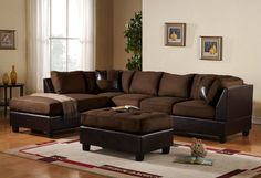 Livingroom designs ideas with 3 Piece Modern Reversible Microfiber  Faux Leather Sectional Couch 3-piece sectional sofa set; includes: 3-person sofa, L/R-reversible chaise, and 38-inch-by-26-inch ottoman Features wood frame base with Microsuede and Faux Leather Upholstery Removable zippered...