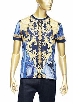 dd138638 Versace - Baroque Camouflage T-Shirt Versace Blue, Versace Men, Camouflage T  Shirts