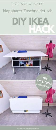 Hast du auch immer Platzprobleme beim Zuschnitt? Auf meibem Blog findest du eine Anleitung für diesen klappbaren Zuschneidetisch, IKEA HACK Nähzimmer