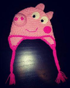 Gorro tejido al crochet - PEPPA PIG T: 2 años